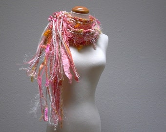 dreamsicle. handknit art yarn scarf . merino wool bamboo curly locks ribbons sari silk shimmering knit scarf . peach coral orange pink cream