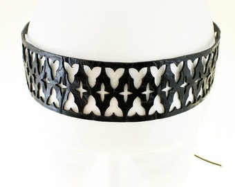 Gothic cathedral window leather headband in black