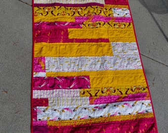 Heather Ross Mendocino Mermaids Quilt in Gold and Fuchsia