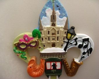 "New Orleans Christmas Ornament Fleur de lis christmas tree Ornament Christmas decoration gift favor  Decoration Trolley Car cathedral  ""A"