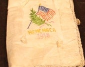 Cloth American Flag Remember 1918 Folded Memory Holder Made out of Silk Like Material