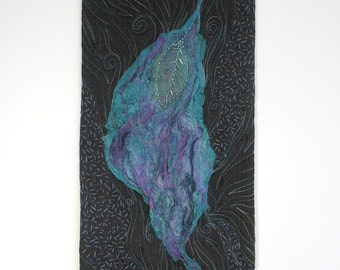 Silk Fusion Art Quilt Wall Hanging, Teal and Purple