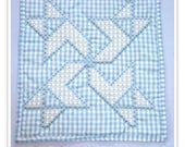Sale item, Blue Gingham Wall Hanging, chicken scratch embroidery, blue gingham decor, home decor, embroidered wall hanging
