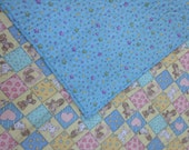 "Baby Quilt, Precious Momentsl Quilt, cotton quilt, 37""x43"", blue baby quilt, perfect for baby shower gift"