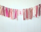 Pink Rag Banner, First Birthday Banner, Pink Bunting, Fabric Banner, Birthday Decor, Fabric