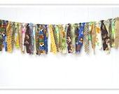 Jungle Rag Banner, Jungle Birthday Banner, Jungle Birthday Bunting, Birthday Fabric Banner, Jungle Birthday Decor, Safari Birthday