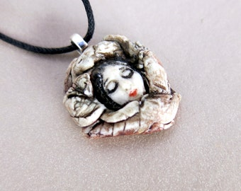 Spirit Face Miniature Necklace Cabochan Ceramic Little Goddess of the Earth Pendant Necklace