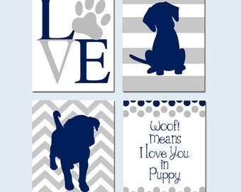 Puppy Dog Boy Nursery Art - Woof Means I Love You In Puppy Quote, Love, Puppy Silhouettes - Set of Four 8x10 Prints - CHOOSE YOUR COLORS