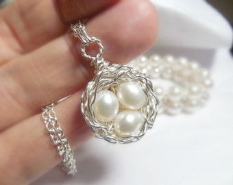 Birds Nest Necklace - Wire Wrapped - Sterling Silver -Freshwater Pearl Eggs
