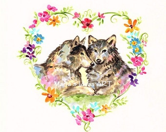 Wolf art, Wolf pair, Heart with Flowers, sweetheart art,  Wildlife print, kids room wall art, floral wreath