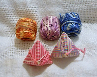 5 STAR Brand EMBROIDERY FLOSS Balls, Vintage 6 Strand Variegated Colors Lavender Orange Blue Supply , 2 Wrapped Pyramids Pink Hues 20 yds ea