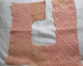 Girlie Pink LATTICE LACE COLLAR Diamond Design, Square Open Edge, Dress Blouse Clothing Embellishment, Unworn Edwardian Accent Free Usa Mail
