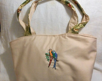 Soft EMBROIDERED PARROTS PURSE Bright Birds Ecru Cotton, Tropical Lining Pocket Roomy Handmade Girlie Handbag, Padded Handles Magnetic Snap