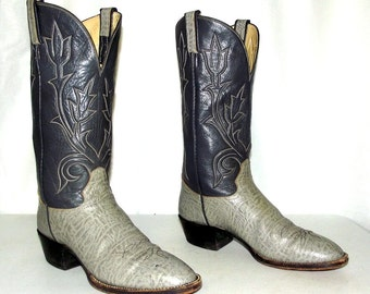 Two tone Grey Hondo Cowboy Boots - mens size 9.5 B Narrow / womens size 10.5 to 11