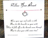 Follow Your Heart - Wish Bracelet - (Dainty Heart) - Shown In The Color  PINK MIST- Over 100 Different Colors Are Also Available