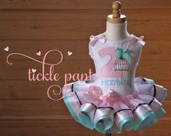 Birds Bird cage Birthday Outfit - Pink aqua chocolate brown -Includes embroidered top and ruffled tutu -Colors and pattern can be customized