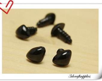 12 mm Safety Noses Doll Noses Toy Noses Amigurumi noses- black - 25 pcs EA85