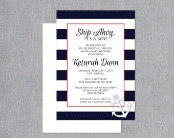 Nautical Baby Shower Invitations - Baby Shower Invitation - Ship Ahoy It's a Boy Baby Shower Invites with Navy and White Stripes and Anchor