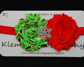 Toddler to Adult Christmas Snowflake Shabby Flower Headband #2-READY TO SHIP