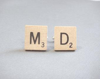 Maryland State Abbreviation Cufflinks - Initial Scrabble® Tile Cufflinks - Maryland Cufflinks - Grooms Gift - Scrabble Cufflinks - Go Terps