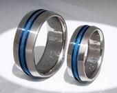 Matching Thin Blue Line Titanium Wedding Bands - stb16