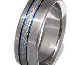 Frost Titanium Wedding Band  - Blue Stripes Ring - f14