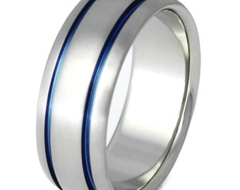 Thin Blue Line Titanium Ring - Blue Ring - Mens Band - Women's Band - b10