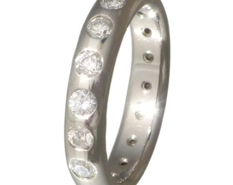 Titanium Diamond Engagement Ring - Eternity Band - Diamond Wedding Band - s83