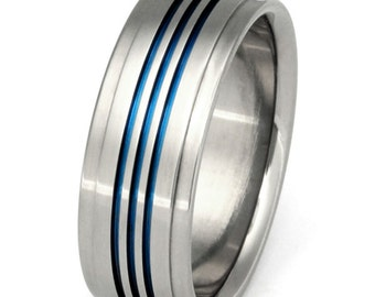 Titanium Wedding Band - Thin Blue Line Ring - Unique Titanium Band - b3