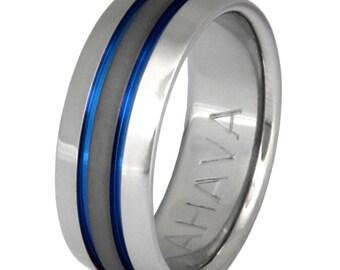 Thin Blue Line Titanium Wedding Band - sa11