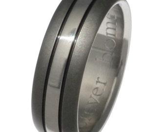 Black Titanium Wedding Band - Black Ring - sa4