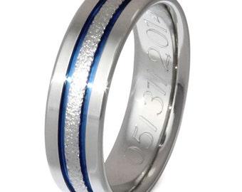 UniqueTitanium Engagement Ring - Unisex Titanium Band - Thin Blue Line - Blue Frost Titanium Ring - f12