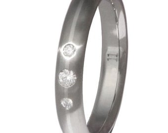 Titanium Engagement Ring - Platinum with Diamonds Wedding Band - e7