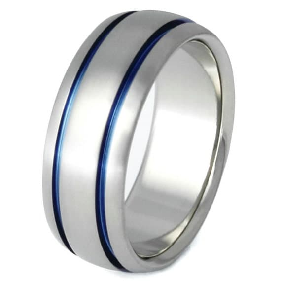 Thin Blue Line Titanium Ring Blue Ring Mens Band