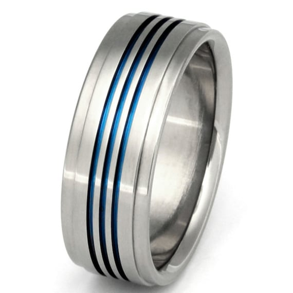 Titanium Wedding Band - Thin Blue Line Ring - Unique Titanium Band - b3