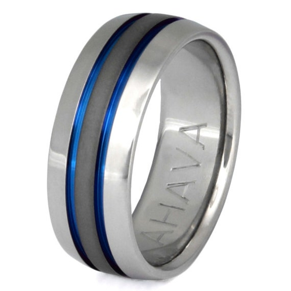 Thin Blue Line Titanium Wedding Band sa11