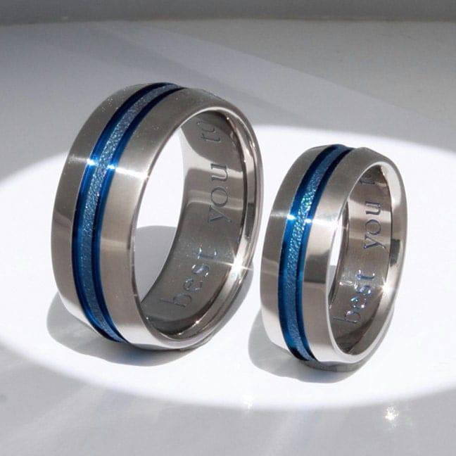 Silicone Wedding Rings >> Matching Thin Blue Line Titanium Wedding Bands stb16