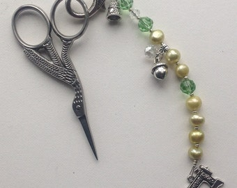 Beaded Scissors Fob - Stork Scissors  Included -  Gift for Quilter -Scissor Minder -  Green Freshwater Pearls & Crystals - Sewing Accessory