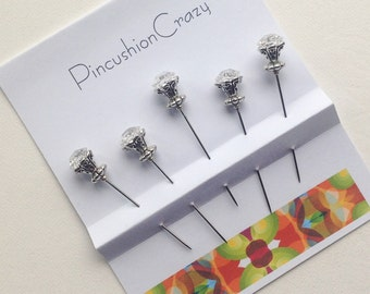 Clear Diamanté  Pins - Fancy Pins - Stick Pins - Embellishment Pins - Scrapbook Pins - Card-Making Embellishments - Gift for Quilter
