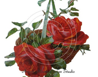 Shabby Vintage Chic Victorian Red Roses Basket Digital Download Images - de-ro-103
