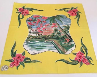 Vintage Florida handkerchief hankie mint with tag swimming pool hibiscus blossoms 1940s Florida souvenir
