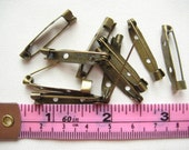 20 pcs of 3 cm antique brass bronze metal brooch back bar pin boutonniere finding safety knit sew crohet art diy creative craft project