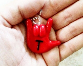 Sign Language I Love You Hand Necklace Pendant Charm - Customizable Jewelry Charm with Initial or Letter - Made to Order - You pick Colors