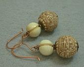 Vintage 1970s Chinese RARE Cream Brown Cinnabar Bead Earrings,Vintage Carved Bone, Copper