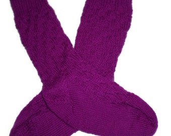 Socks - Hand Knit Women's Vibrant Violet Cross-Hatch Socks - Size 7-8