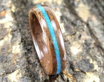 Wood Ring Walnut with Blue Opal Inlay