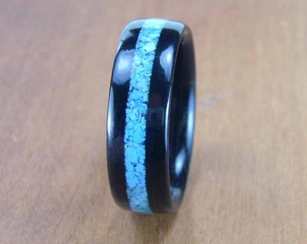 Bentwood Ring Ebony with Turquoise Inlay