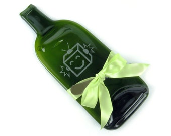 Robot Dude Melted Bottle Cheese Tray - Green Glass Wine Bottle