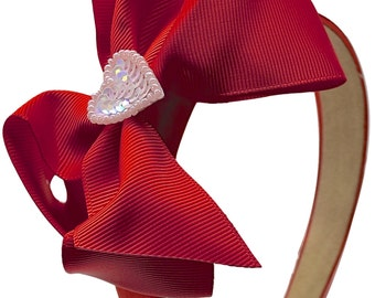 Valentines Day Satin Arch Headband with Sequin Heart and Boutique Bow