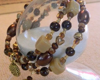 Chocolate brown, cream and gold glass bead memory wire bracelet, cuff, dangle, wrap, coil gift